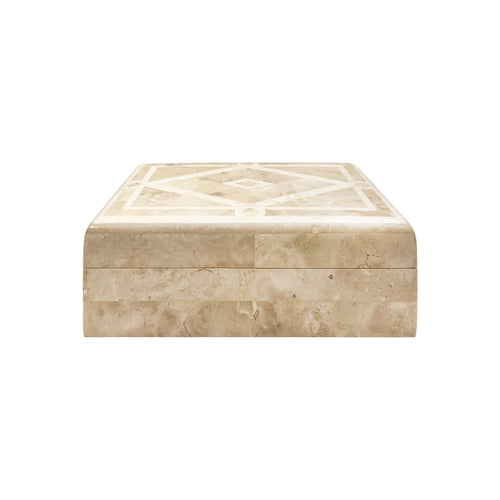 VINTAGE MAITLAND SMITH TESSELLATED IVORY STONE BOX WITH GEOMETRIC DIAMOND PATTERN INLAY - Flair Home Collection