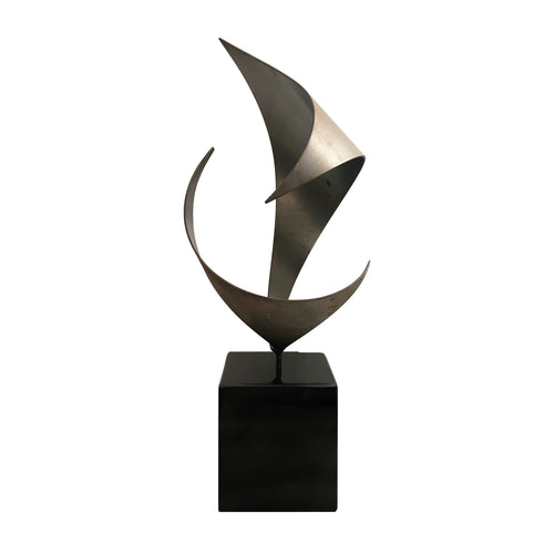 VINTAGE ABSTRACT METAL WAVE SCULPTURE ON SQUARE BLACK STONE BASE - Flair Home Collection