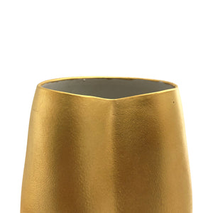 WIDE MOUTH CERAMIC VASE WITH DENT AND 22K GOLD MATTE LUSTRE - Flair Home Collection