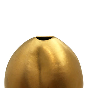 SMALL CERAMIC VASE WITH DENT AND 22K GOLD MATTE LUSTER - Flair Home Collection