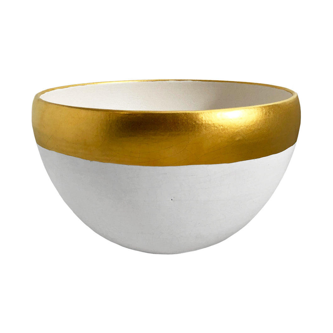 LARGE CERAMIC BOWL WITH WHITE CRACKLE GLAZE AND 22K MATTE GOLD BAND - Flair Home Collection