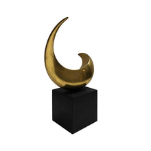 Load image into Gallery viewer, BRONZE HALF MOON SCULPTURE ON BLACK WOOD BASE - Flair Home Collection