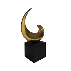 VINTAGE BRONZE HALF MOON SCULPTURE ON BLACK WOOD BASE - Flair Home Collection