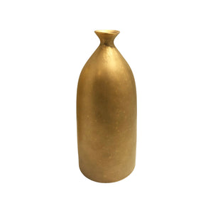 MEDIUM CERAMIC BOTTLE VASE WITH BURNISHED GOLD LUSTRE GLAZE - Flair Home Collection