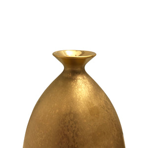 MEDIUM CERAMIC BOTTLE VASE WITH FLARED BOTTOM AND BURNISHED GOLD LUSTRE GLAZE - Flair Home Collection