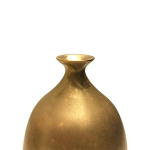SMALL CERAMIC BOTTLE VASE WITH FLARED BOTTOM AND BURNISHED GOLD LUSTRE GLAZE - Flair Home Collection