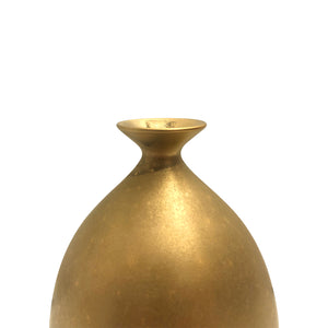 SMALL CERAMIC BOTTLE VASE WITH BURNISHED GOLD LUSTRE GLAZE - Flair Home Collection