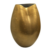 Load image into Gallery viewer, LARGE DENTED CERAMIC VASE WITH BURNISHED GOLD LUSTER - Flair Home Collection