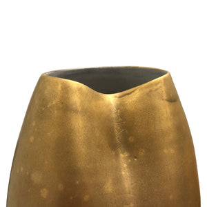 LARGE DENTED CERAMIC VASE WITH BURNISHED GOLD LUSTER - Flair Home Collection