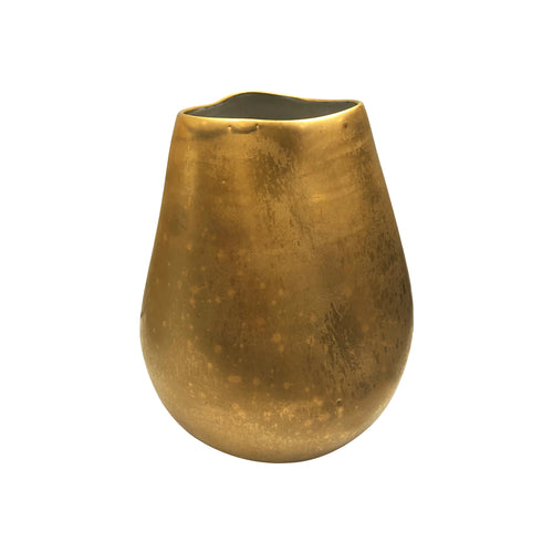 MEDIUM CERAMIC VASE WITH DENT AND BURNISHED GOLD LUSTRE GLAZE - Flair Home Collection