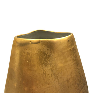 MEDIUM DENTED CERAMIC VASE WITH BURNISHED GOLD LUSTER GLAZE - Flair Home Collection