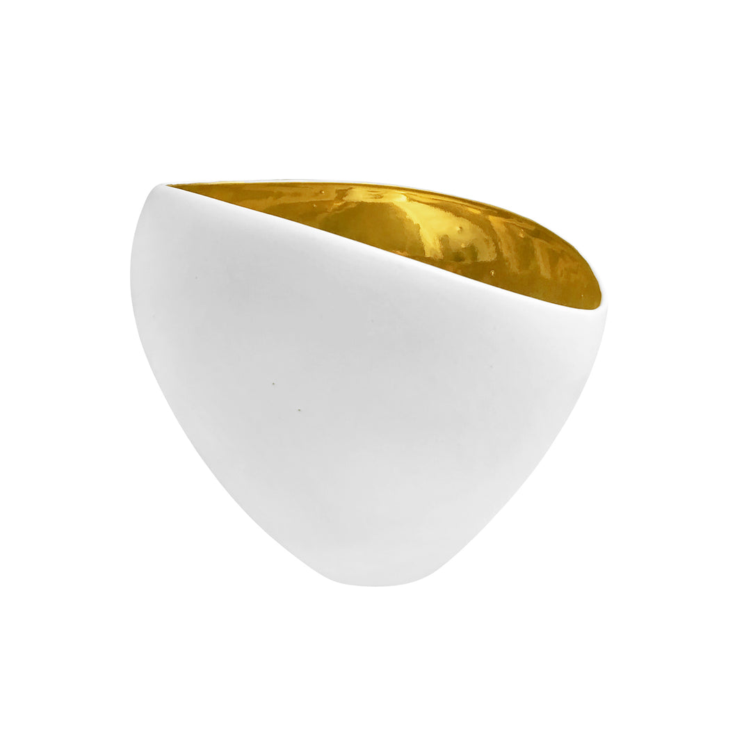 TALL ASYMMETRICAL CERAMIC BOWL WITH ALABASTER GLAZE AND 22K GOLD INTERIOR - Flair Home Collection