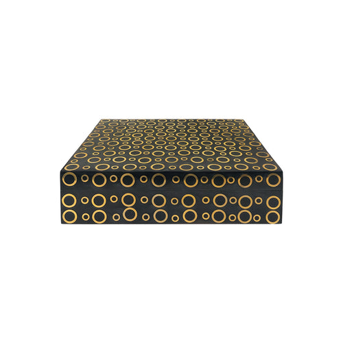 LARGE RECTANGULAR GREY HORN BOX WITH CIRCULAR BRASS INLAY - Flair Home Collection