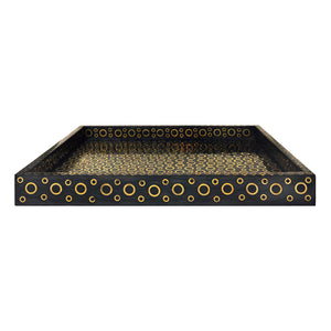 LARGE RECTANGULAR GREY HORN TRAY WITH CIRCULAR BRASS INLAY - Flair Home Collection