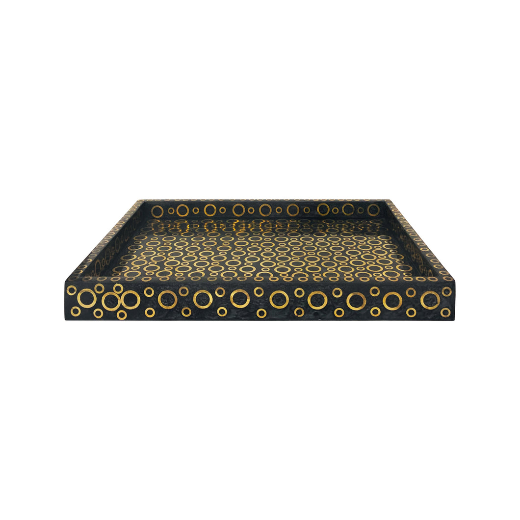 SMALL RECTANGULAR GREY HORN TRAY WITH CIRCULAR BRASS INLAY - Flair Home Collection