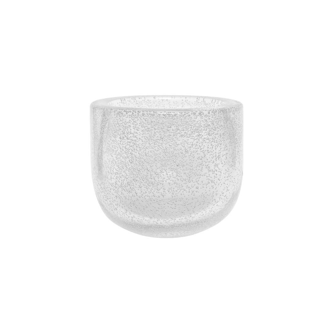 SMALL HANDBLOWN THICK CLEAR GLASS BOWL WITH BUBBLES - Flair Home Collection