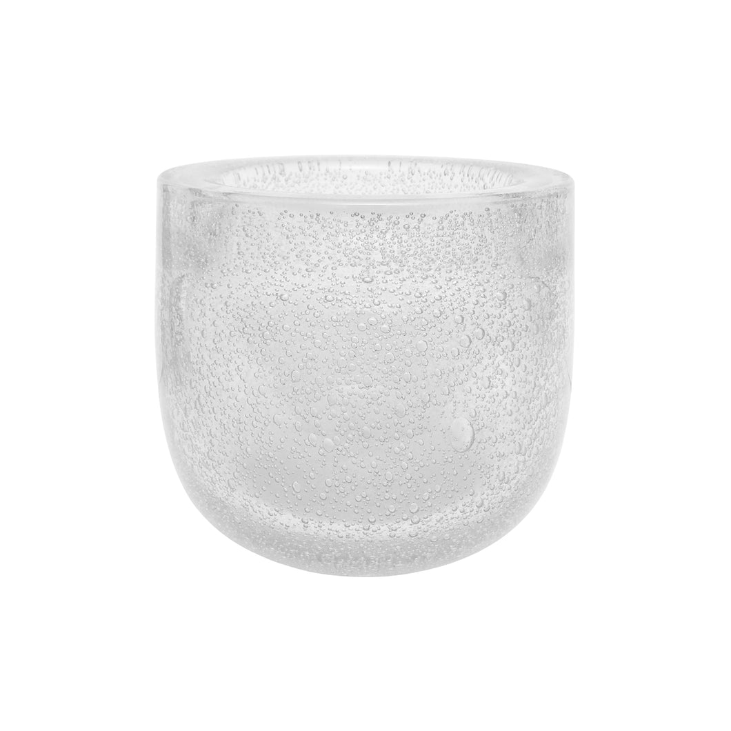 MEDIUM HANDBLOWN THICK CLEAR GLASS BOWL WITH BUBBLES - Flair Home Collection