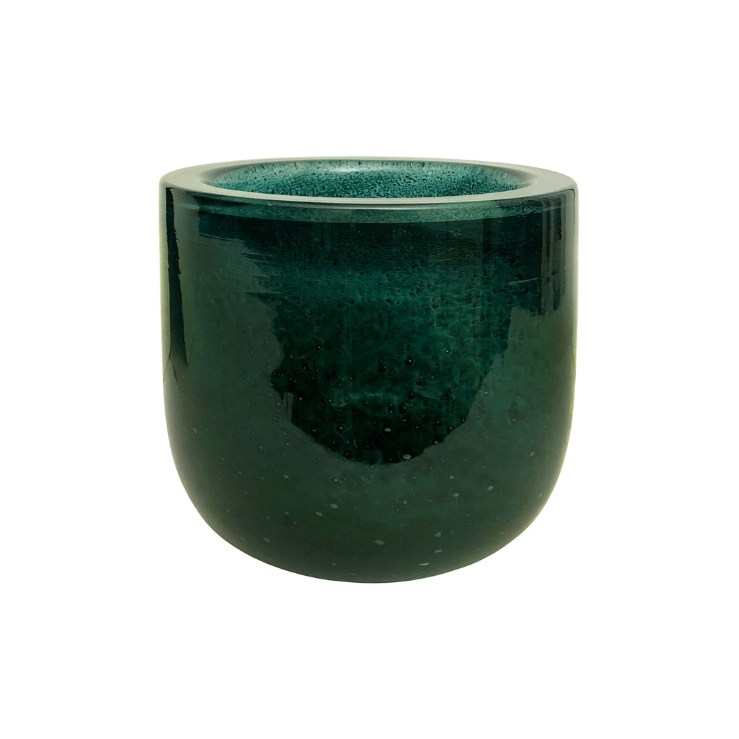 MEDIUM HANDBLOWN THICK GREEN GLASS BOWL WITH BUBBLES - Flair Home Collection