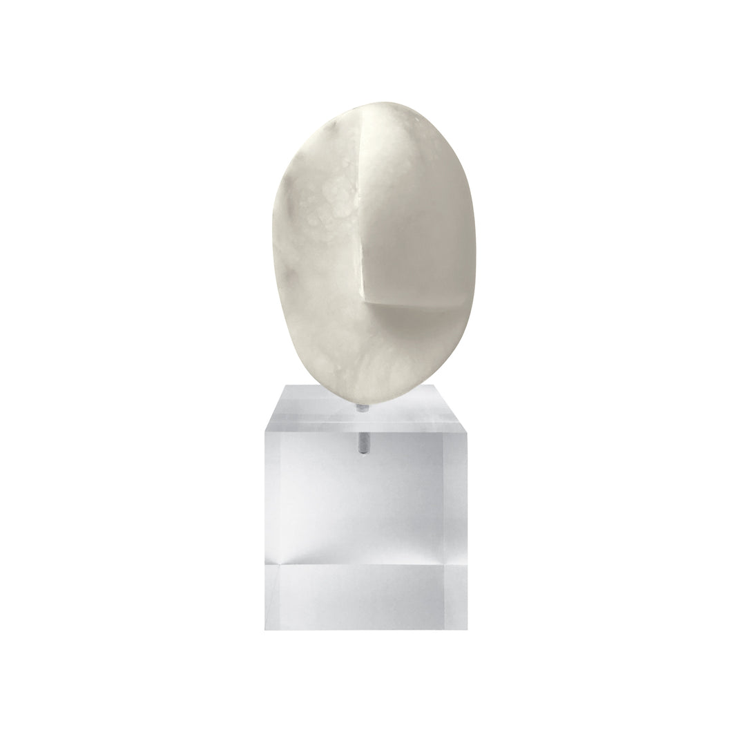WHITE MARBLE ABSTRACT ORB SCULPTURE ON LUCITE BASE - Flair Home Collection