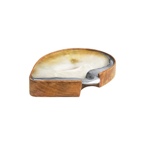 TEAK AND MOTHER OF PEARL SHELL TRAY WITH STERLING SILVER TRIM - Flair Home Collection
