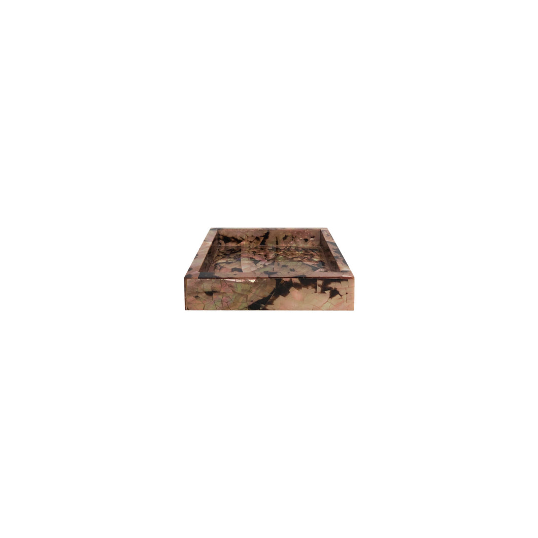 SMALL SQUARE SNAKE SHELL TRAY ON SQUARE CHROME FEET - Flair Home Collection