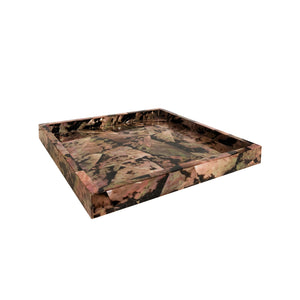 LARGE SQUARE SNAKE SHELL TRAY ON SQUARE CHROME FEET - Flair Home Collection