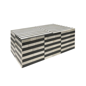 LARGE GREY AND IVORY STRIPED BONE BOX - Flair Home Collection