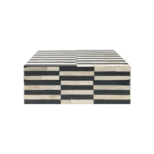MEDIUM GREY AND IVORY STRIPED BONE BOX - Flair Home Collection
