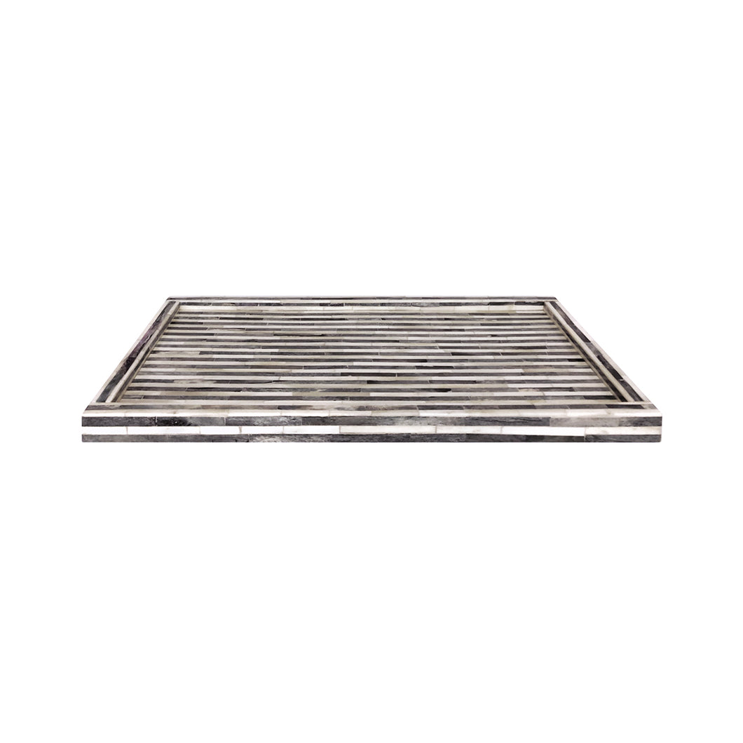 LARGE RECTANGULAR STRIPED GREY AND WHITE BONE TRAY - Flair Home Collection