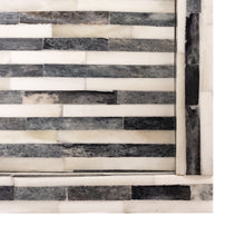 Load image into Gallery viewer, LARGE RECTANGULAR STRIPED GREY AND WHITE BONE TRAY - Flair Home Collection