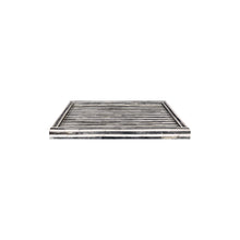 Load image into Gallery viewer, MEDIUM RECTANGULAR STRIPED GREY AND WHITE BONE TRAY - Flair Home Collection