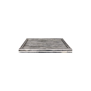 MEDIUM RECTANGULAR STRIPED GREY AND WHITE BONE TRAY - Flair Home Collection