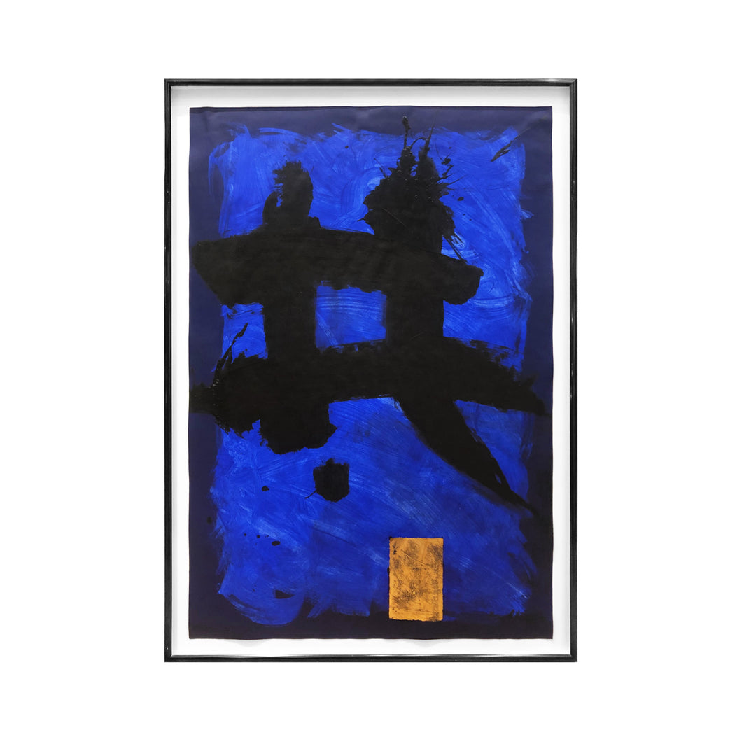 ABSTRACT BLUE CALLIGRAPHIC PAINTING #1 BY MARC ASHMORE - Flair Home Collection