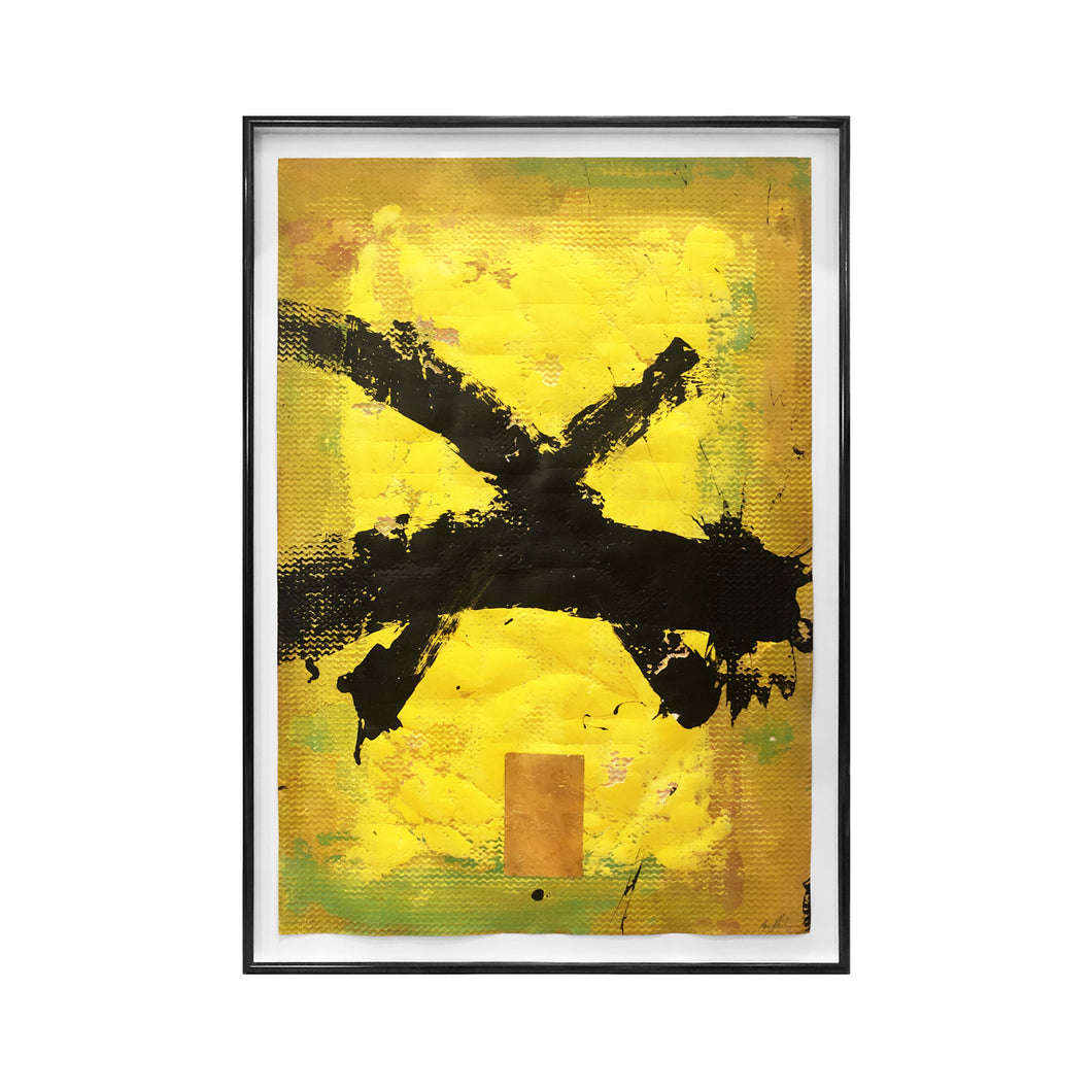 ABSTRACT YELLOW CALLIGRAPHIC PAINTING BY MARC ASHMORE - Flair Home Collection
