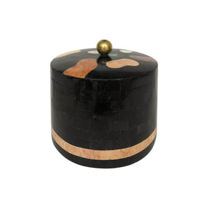 VINTAGE ROUND MAITLAND SMITH TESSELLATED STONE BOX - Flair Home Collection
