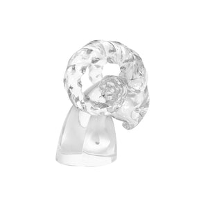 HANDBLOWN CARTIER MURANO CRYSTAL RAMS HEAD SCULPTURE - Flair Home Collection
