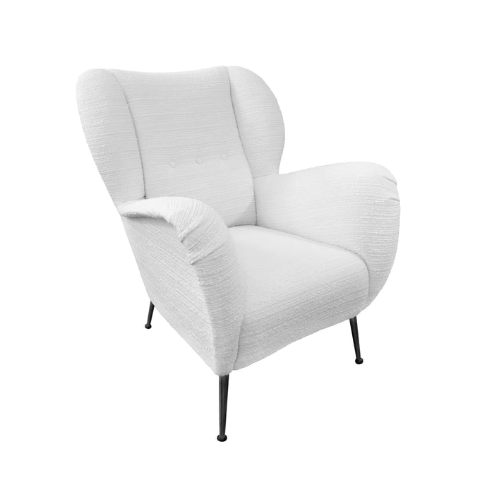 ITALIAN CLUB CHAIR WITH METAL LEGS IN PEARL BOUCLE - Flair Home Collection