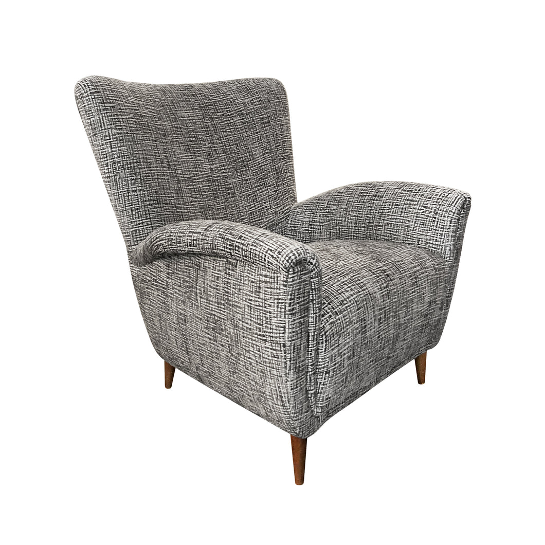 MIDCENTURY ITALIAN HIGH BACK ARM CHAIR IN CUT VELVET - Flair Home Collection