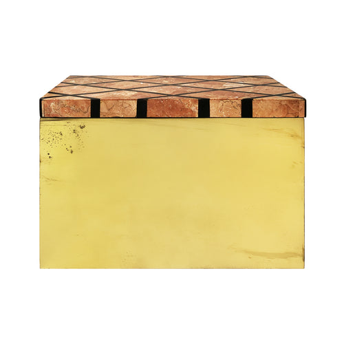 BRASS BOX WITH DIAMOND PATTERNED MARBLE LID - Flair Home Collection