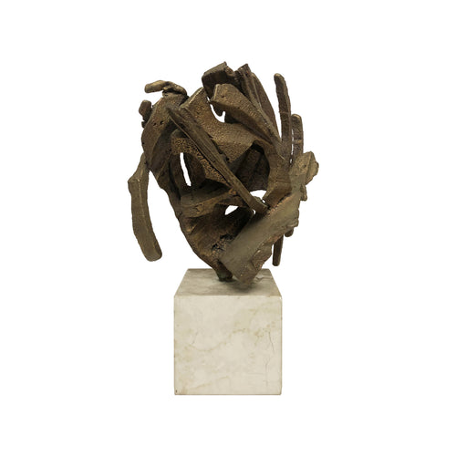 ABSTRACT BRONZE SCULPTURE ON STONE BASE - Flair Home Collection