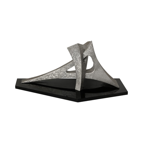 VINTAGE ABSTRACT ALUMINUM SCULPTURE ON PLEXI BASE - Flair Home Collection
