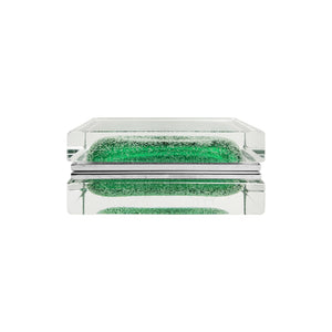 HANDMADE RECTANGULAR MURANO GLASS BOX IN GREEN WITH BUBBLES - Flair Home Collection