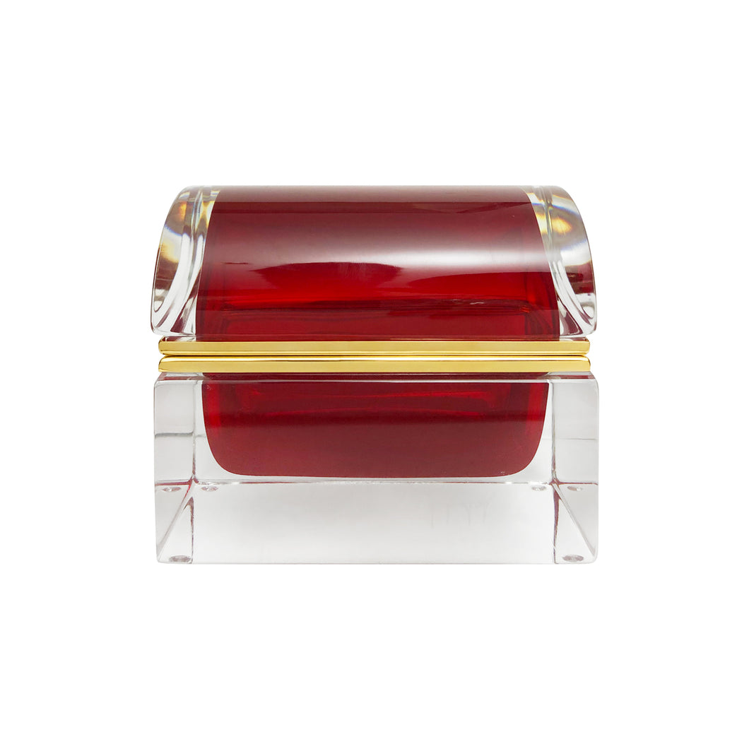 HANDMADE LARGE MURANO GLASS TRUNK BOX IN RED - Flair Home Collection