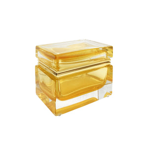 HANDMADE MEDIUM MURANO GLASS BOX IN AMBER AND GOLD - Flair Home Collection