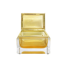 Load image into Gallery viewer, HANDMADE MEDIUM MURANO GLASS BOX IN AMBER AND GOLD - Flair Home Collection