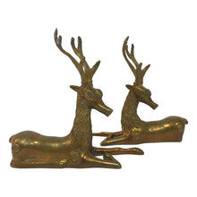 Load image into Gallery viewer, PAIR OF LARGE BRASS RECLINING DEER SCULPTURES - Flair Home Collection