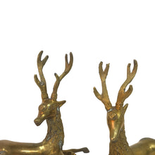 Load image into Gallery viewer, PAIR OF BRASS RECLINING DEER SCULPTURES - Flair Home Collection