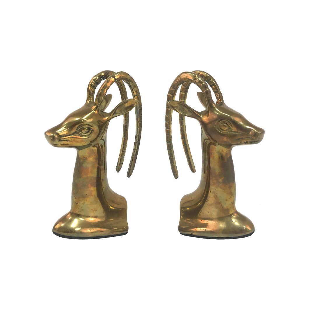 PAIR OF BRASS GAZELLE BOOKENDS - Flair Home Collection