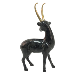 DOLBI CASHIER PAINTED WOODEN DEER WITH BRASS ANTLERS - Flair Home Collection