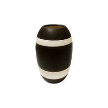 Load image into Gallery viewer, TALL CURVED CERAMIC VASE WITH HIGH CONTRAST DOUBLE STRIPE GLAZE - Flair Home Collection